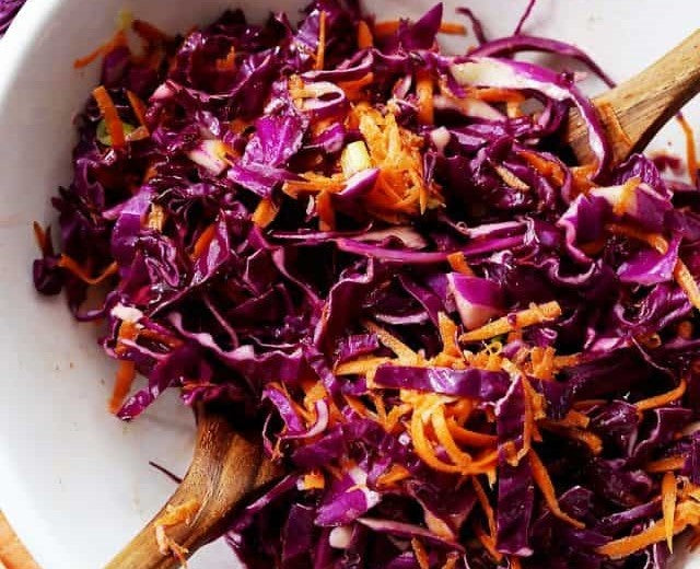 Red Cabbage and Carrot Slaw.