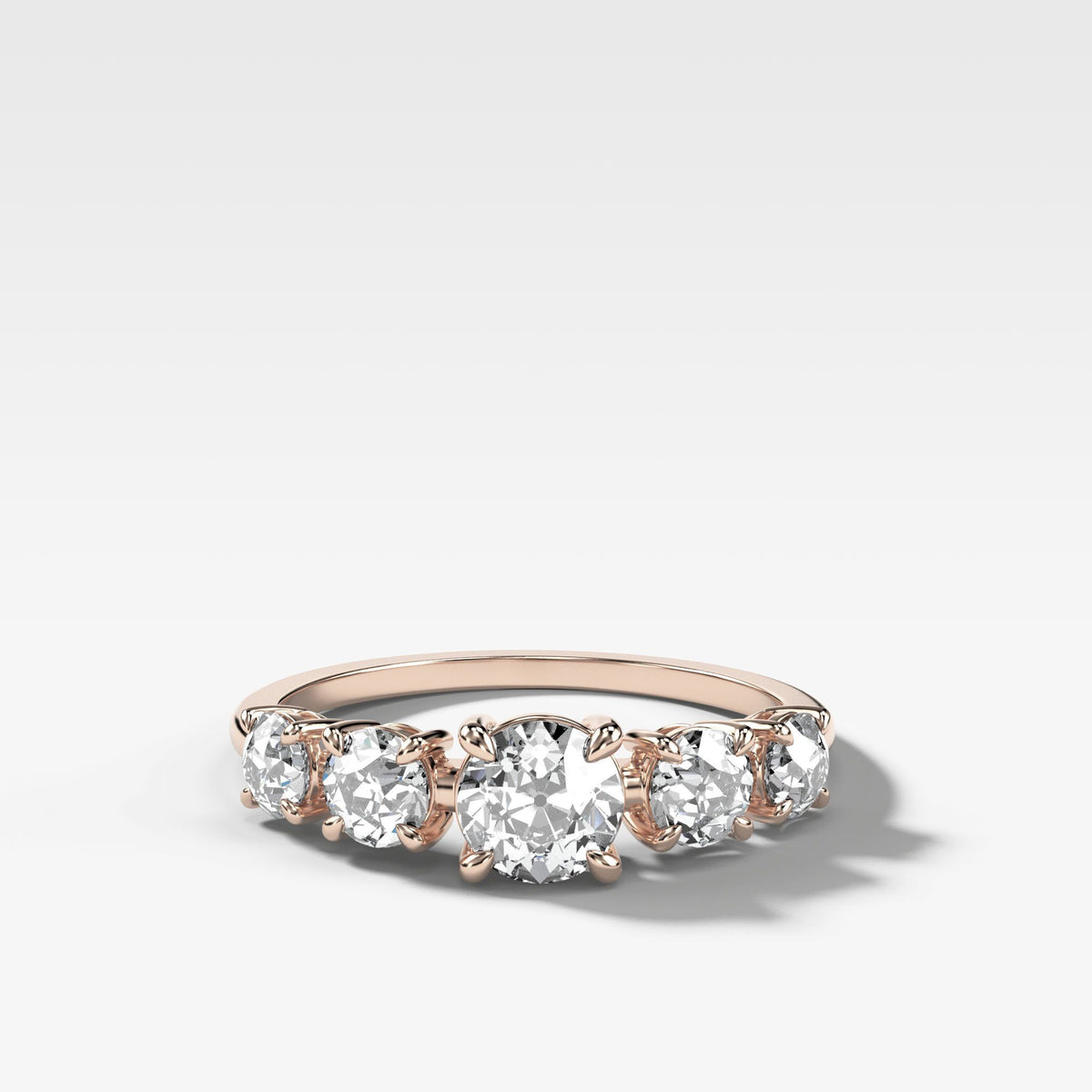 Graduated Five Stone ring with Old Euro Cut Diamonds in Rose Gold by Good Stone