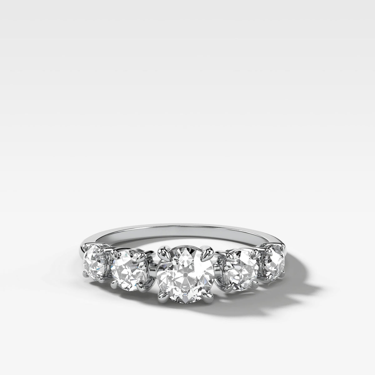 Graduated Five Stone ring with Old Euro Cut Diamonds in White Gold by Good Stone