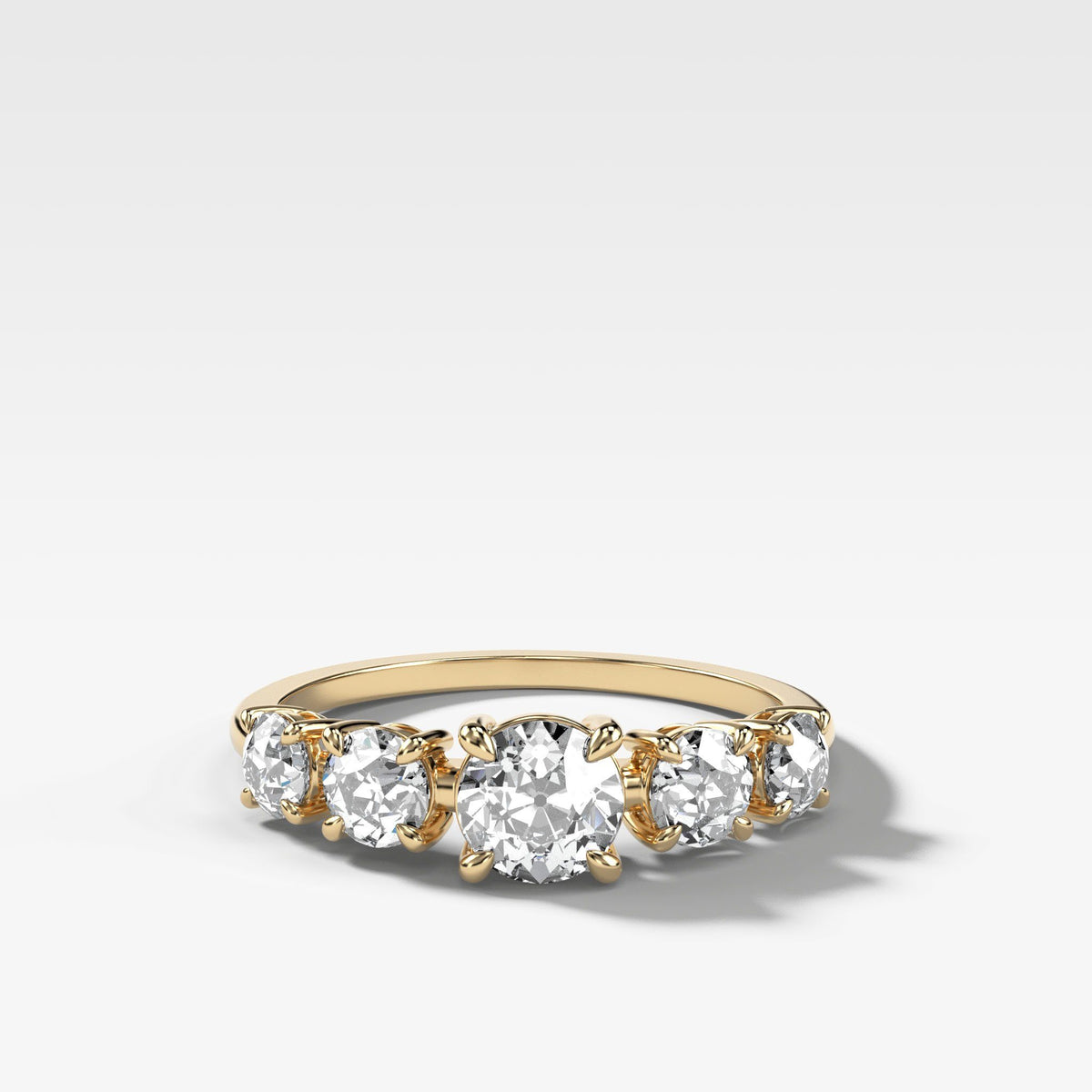 Graduated Five Stone ring with Old Euro Cut Diamonds in Yellow Gold by Good Stone