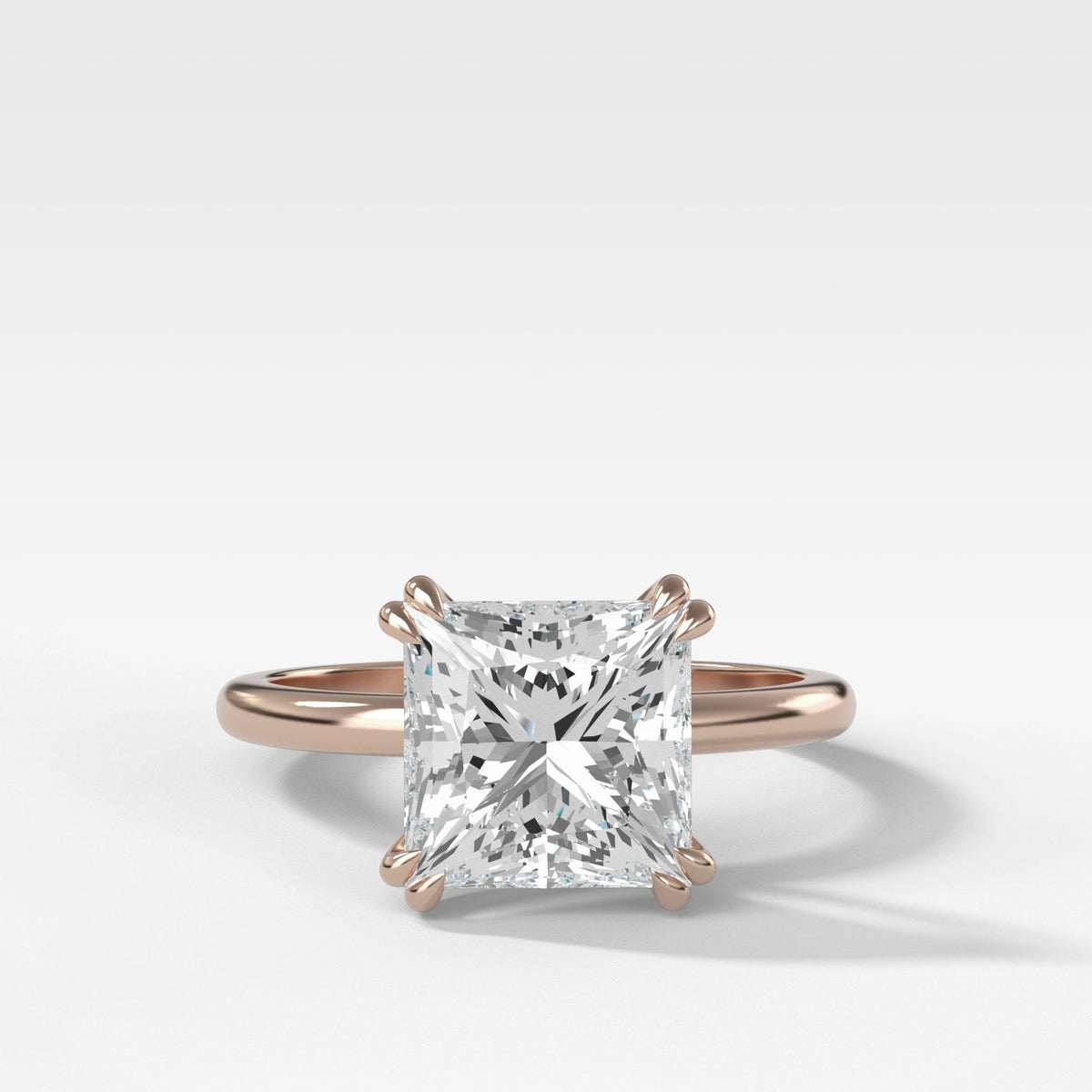 Signature Cathedral Solitaire With Princess Cut In Rose Gold By Good Stone