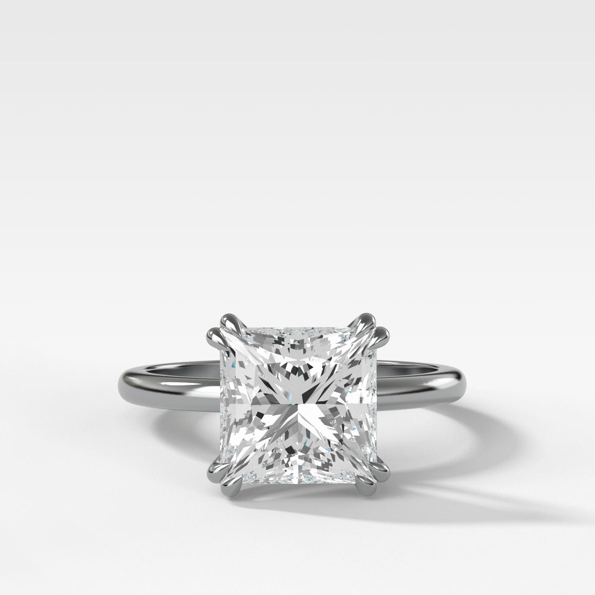 Signature Cathedral Solitaire With Princess Cut In White Gold By Good Stone
