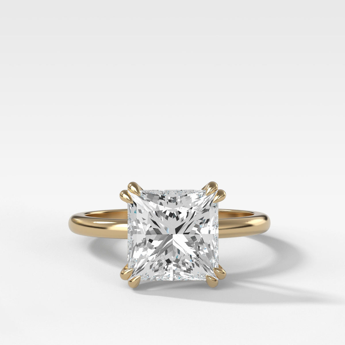 Signature Cathedral Solitaire With Princess Cut In Yellow Gold By Good Stone