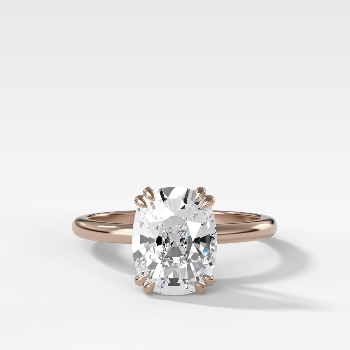 Signature Cathedral Solitaire With Elongated Cushion Cut om Rose Gold by Good Stone