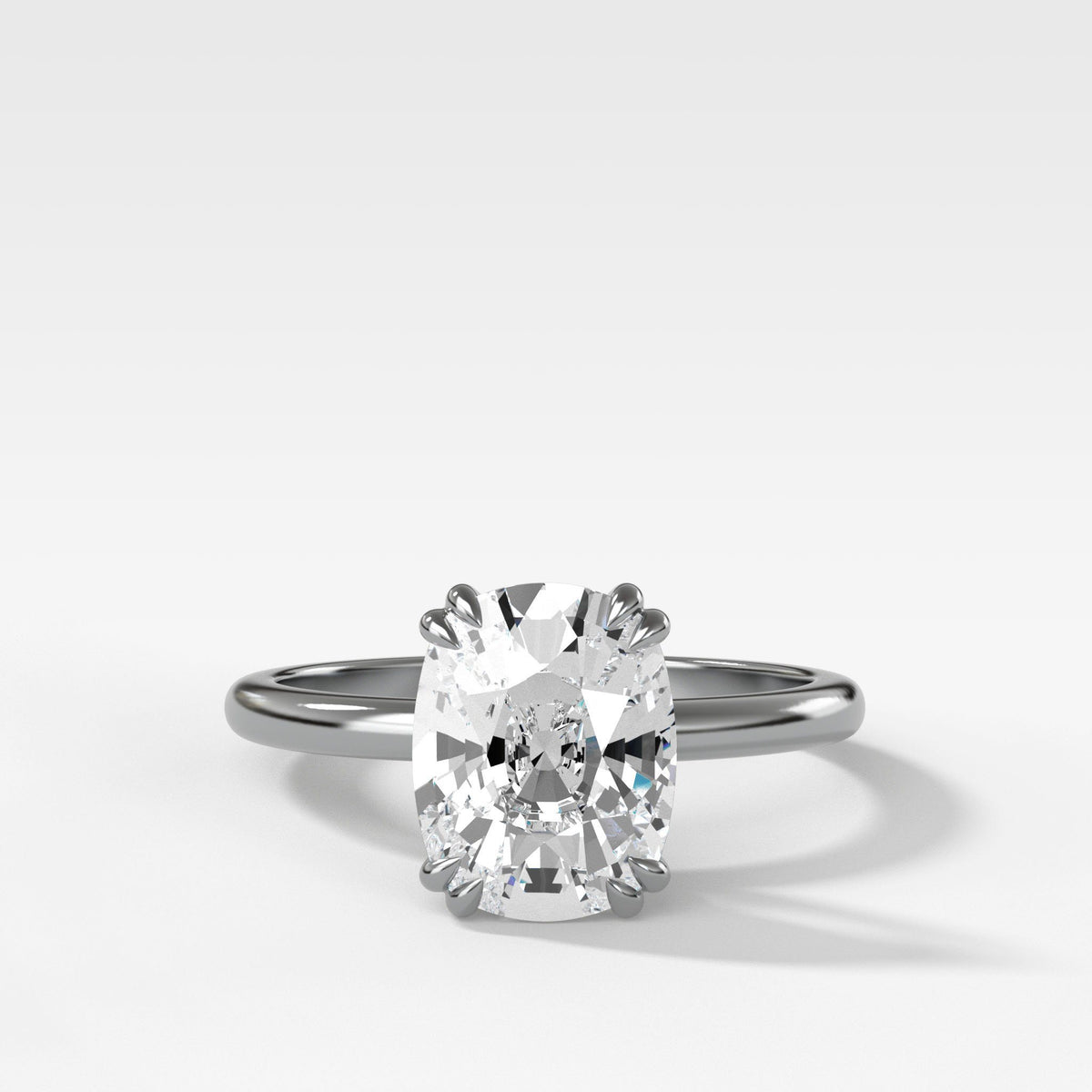 Signature Cathedral Solitaire With Elongated Cushion Cut om White Gold by Good Stone