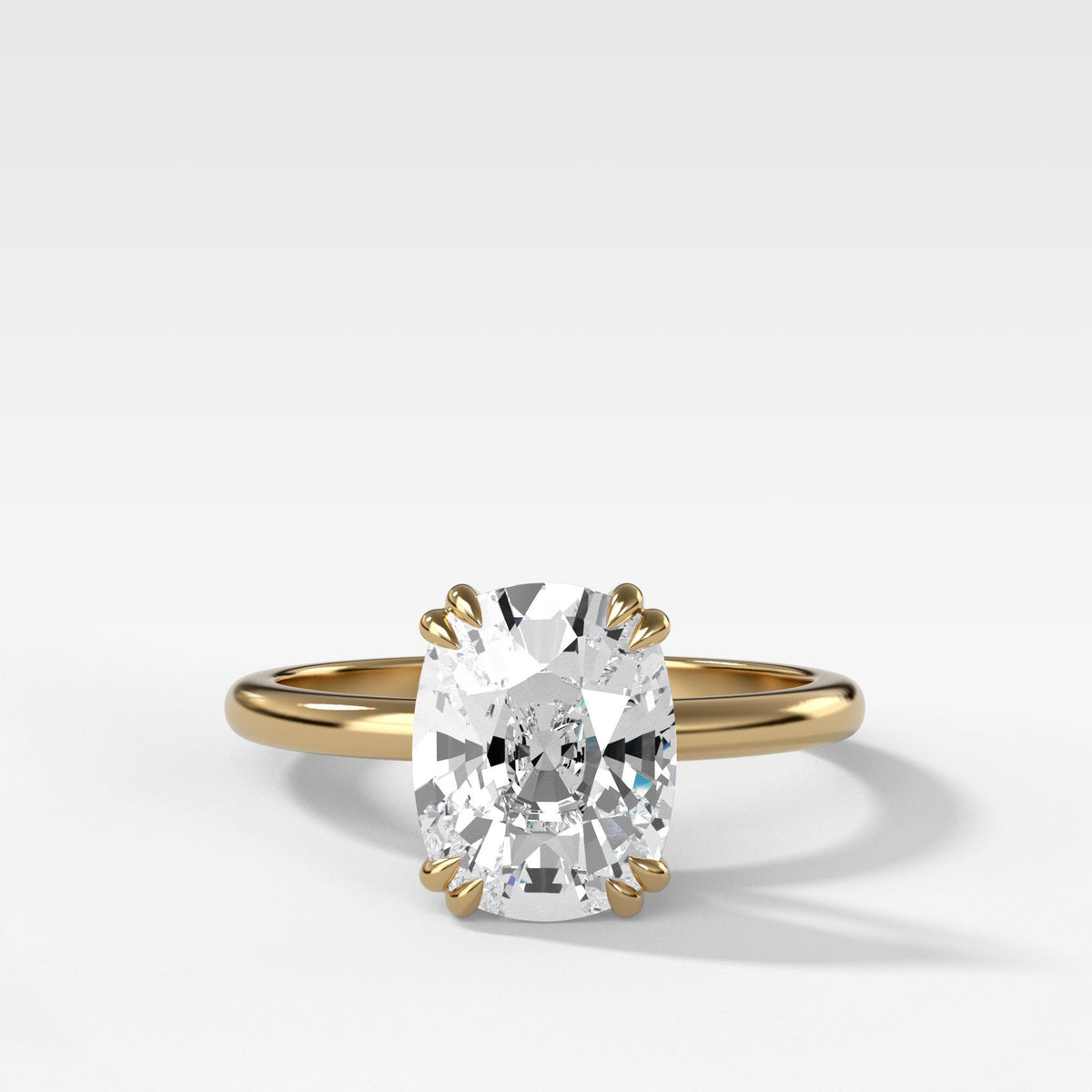 Signature Cathedral Solitaire With Elongated Cushion Cut om Yellow Gold by Good Stone
