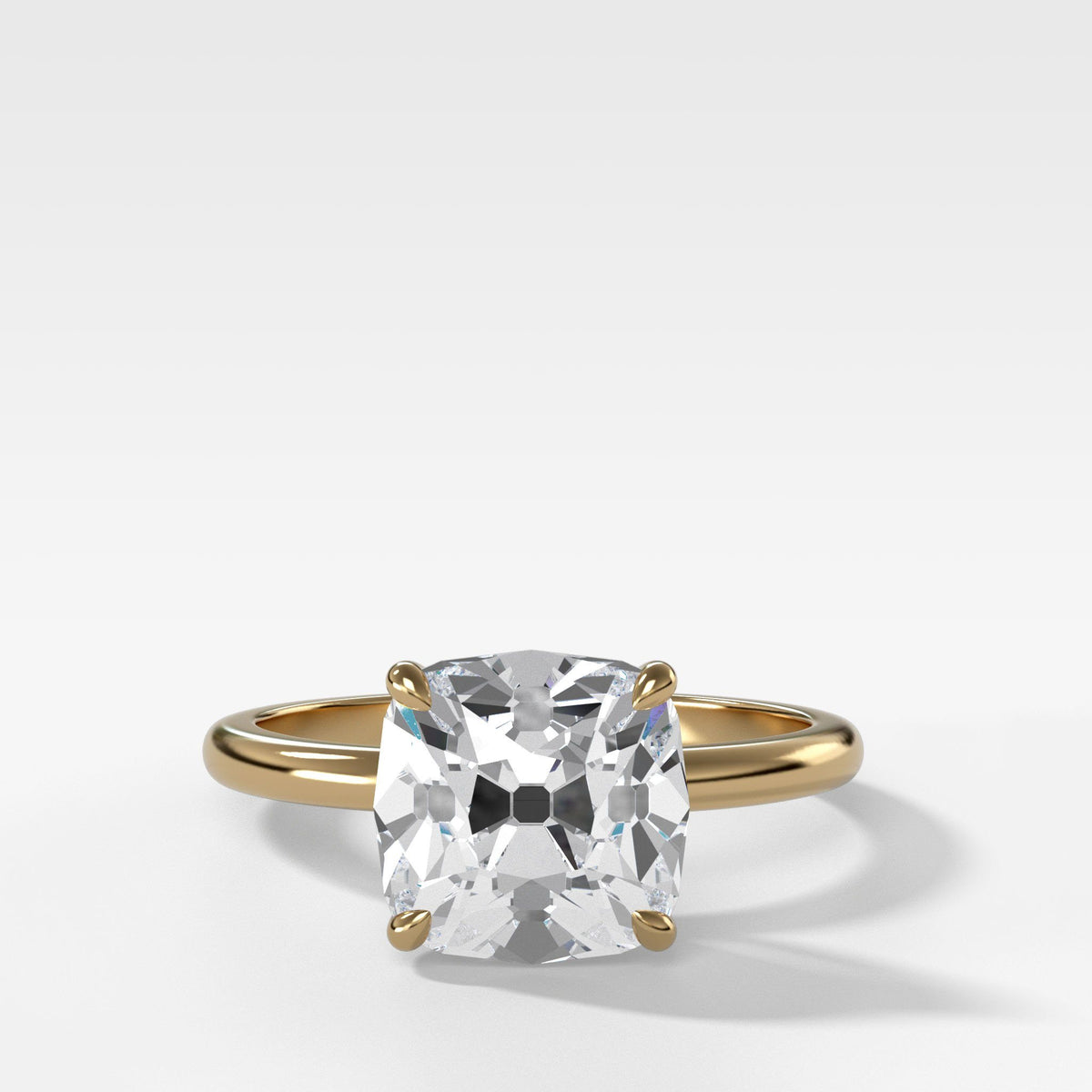 Crescent Solitaire With Old Mine Cut in Yellow Gold by Good Stone