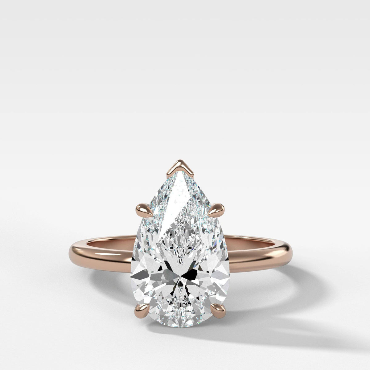 Crescent Solitaire With Pear Cut in Rose Gold by Good Stone