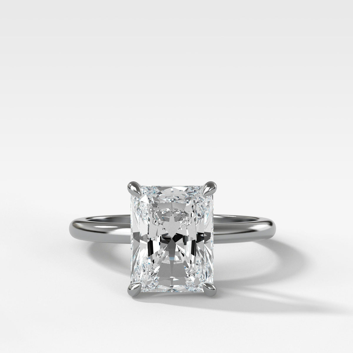 Crescent Solitaire With Radiant Cut Engagement Good Stone Inc White Gold 14k