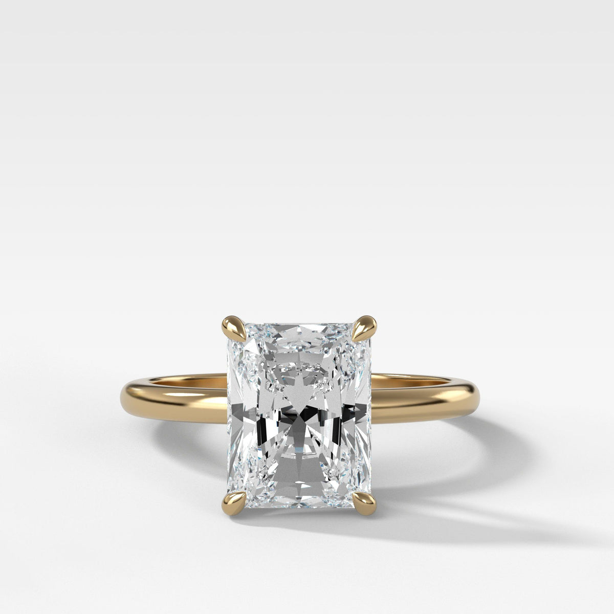 Crescent Solitaire With Radiant Cut Engagement Good Stone Inc Yellow Gold 14k