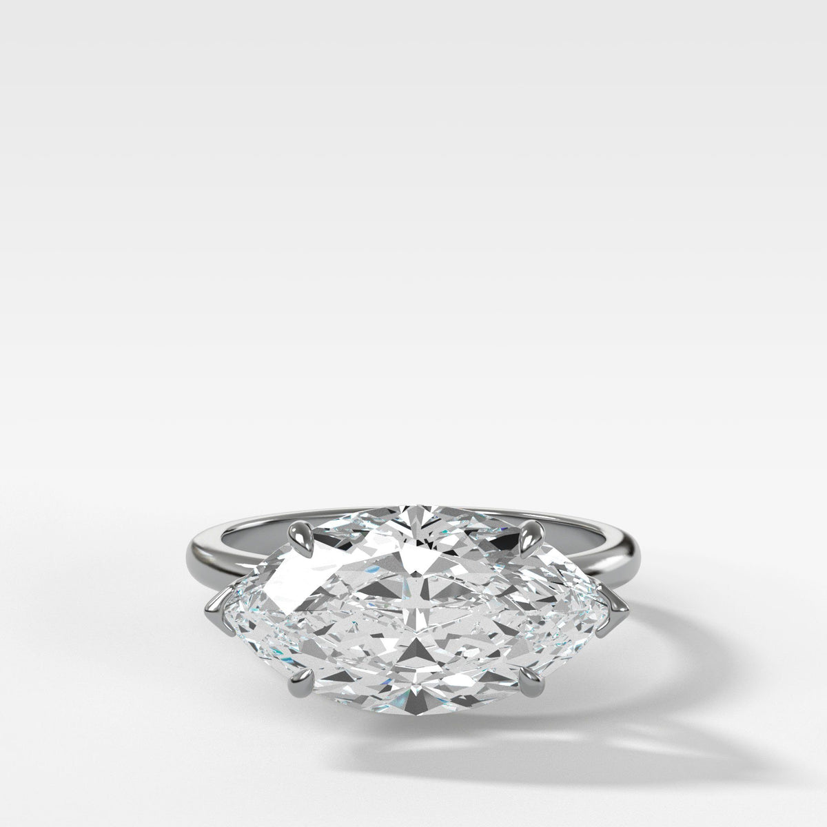 Crescent Solitaire With Marquise Cut in White Gold by Good Stone