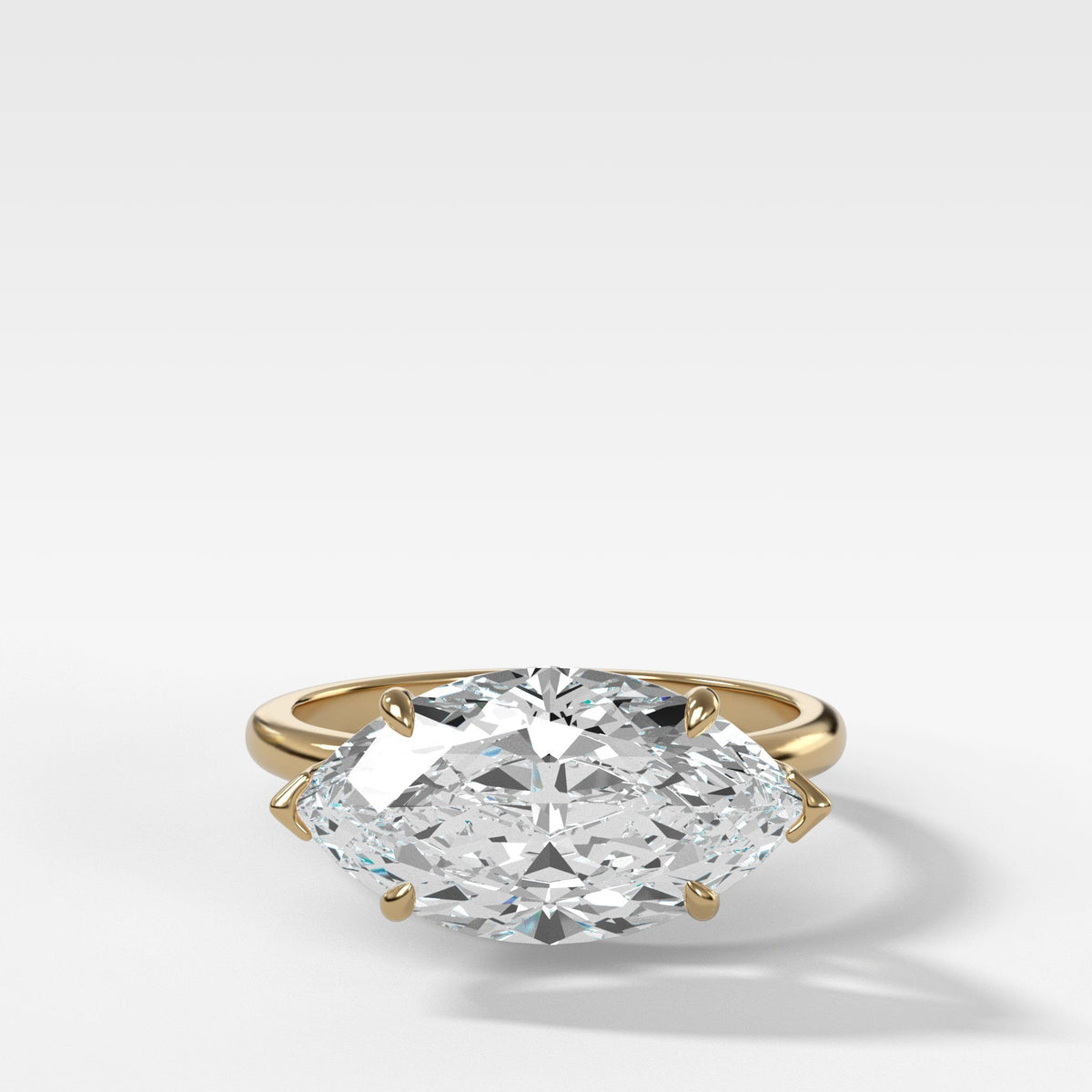 Crescent Solitaire With Marquise Cut in Yellow Gold by Good Stone