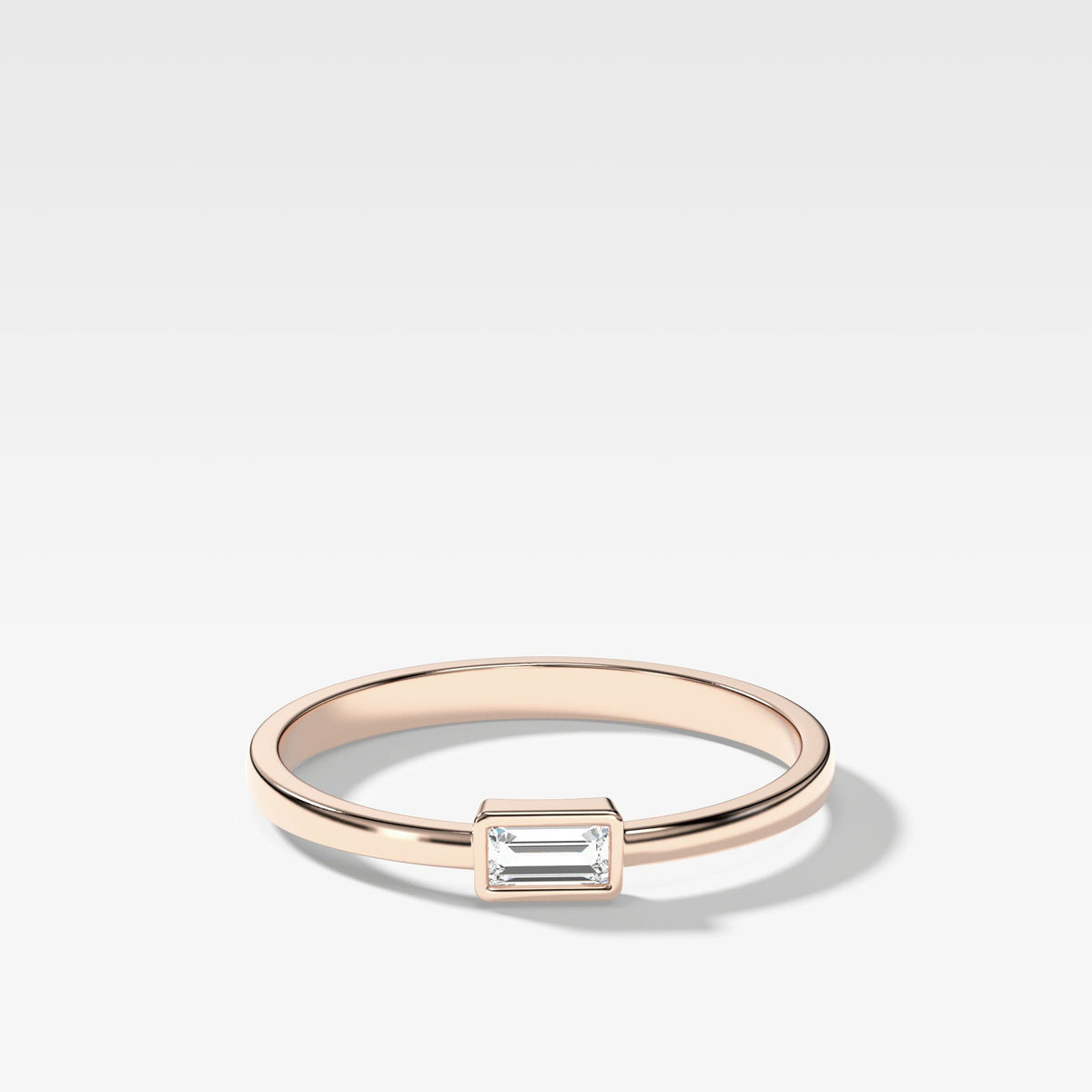Baguette Bezel Stacker In Rose Gold By Good Stone