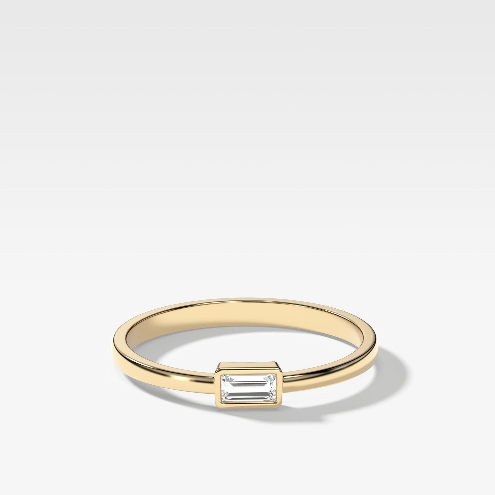 Baguette Bezel Stacker In Yellow Gold By Good Stone