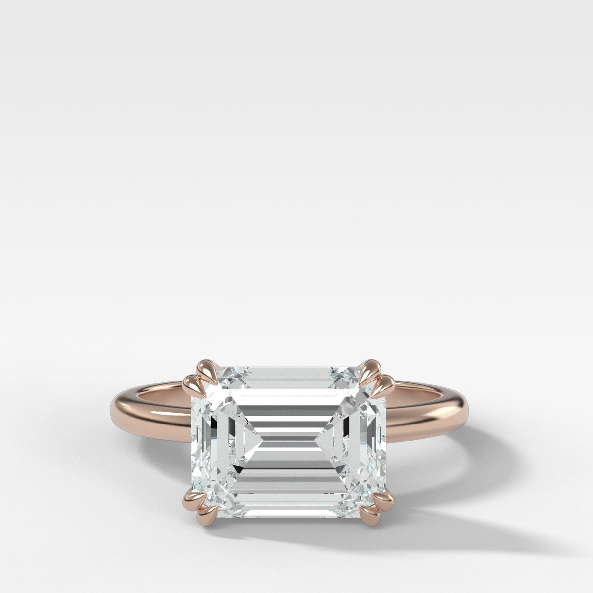 Signature Cathedral Solitaire With Emerald Cut (East West) in Rose Gold by Good Stone