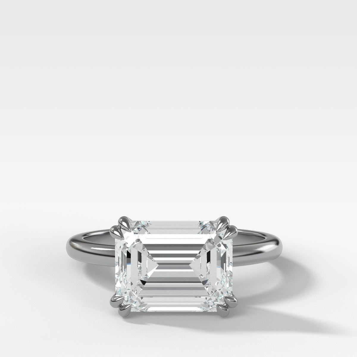 Signature Cathedral Solitaire With Emerald Cut (East West) in White Gold by Good Stone