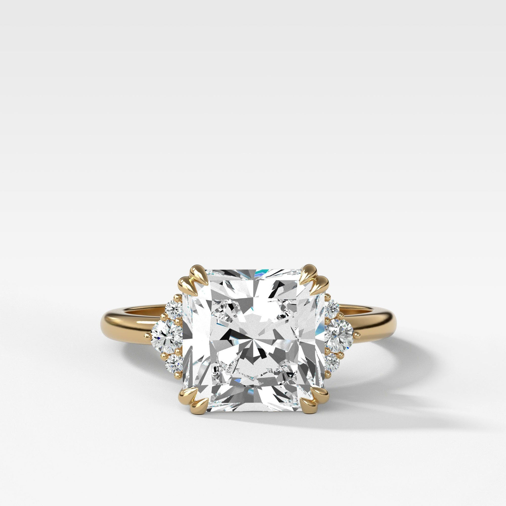Signature Cluster Engagement Ring With Radiant Cut In Yellow Gold By Good Stone
