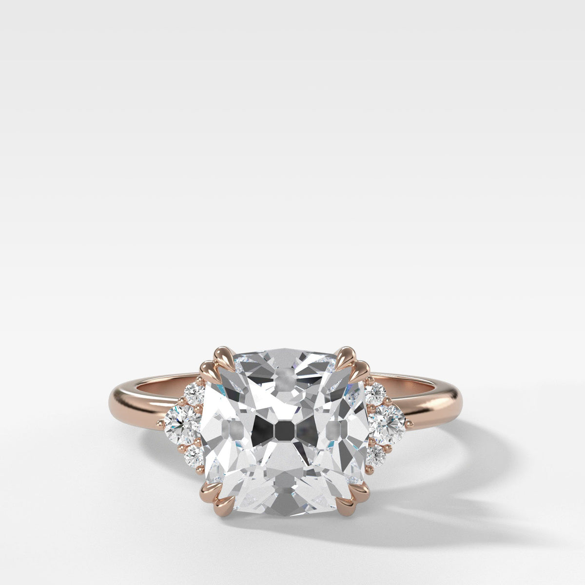 Signature Cluster Engagement Ring With Old Mine Cut In Rose Gold By Good Stone