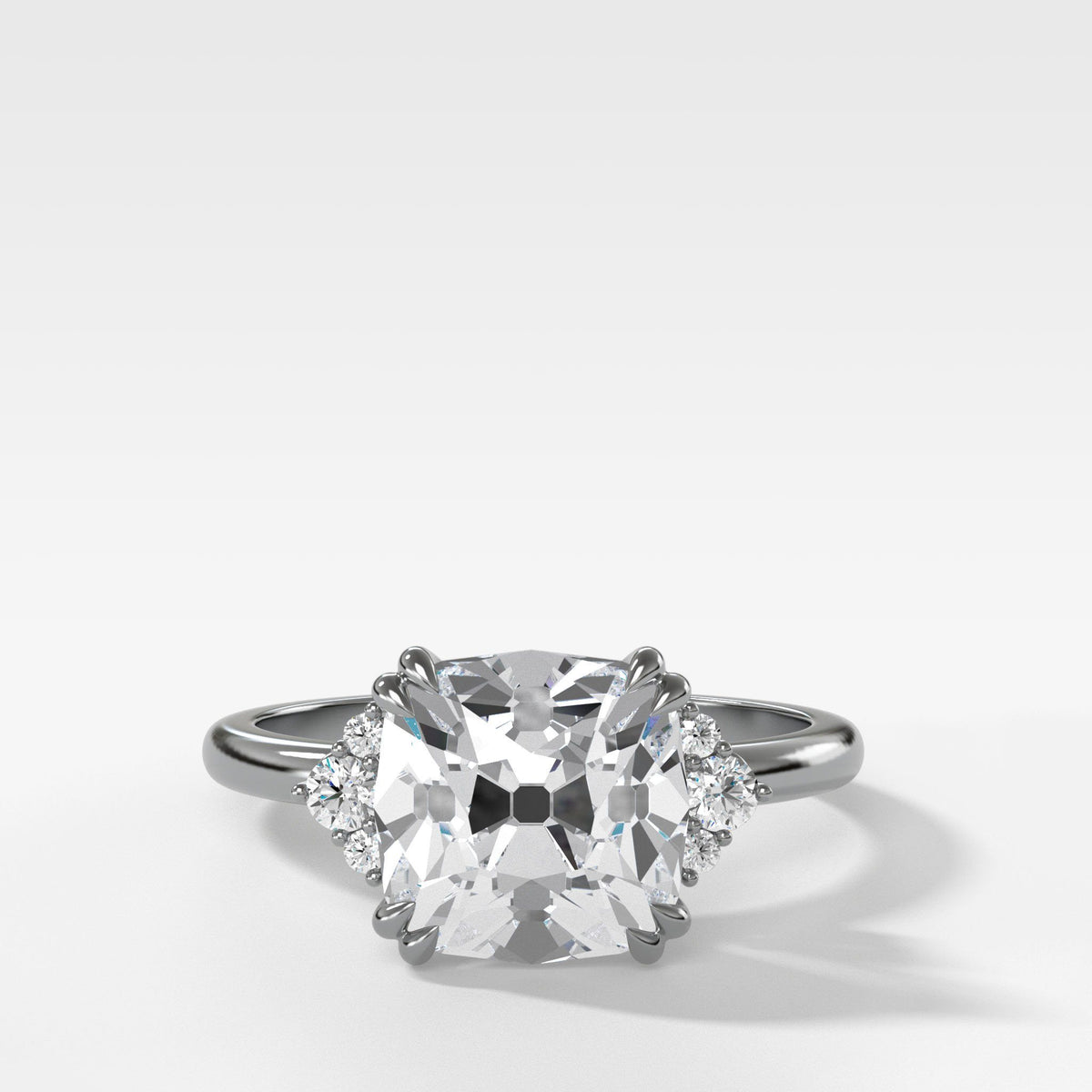 Signature Cluster Engagement Ring With Old Mine Cut In White Gold By Good Stone