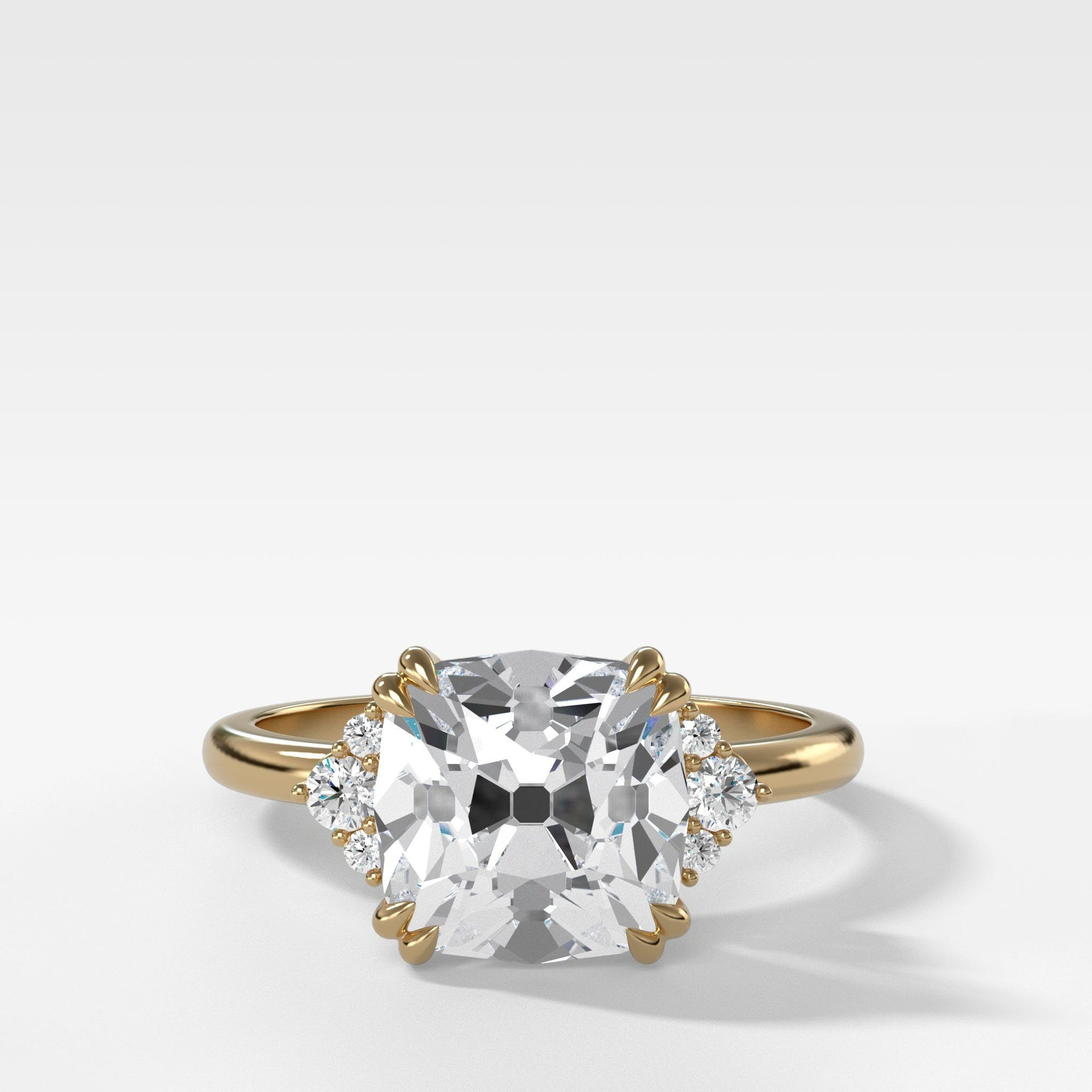 Signature Cluster Engagement Ring With Old Mine Cut In Yellow Gold By Good Stone