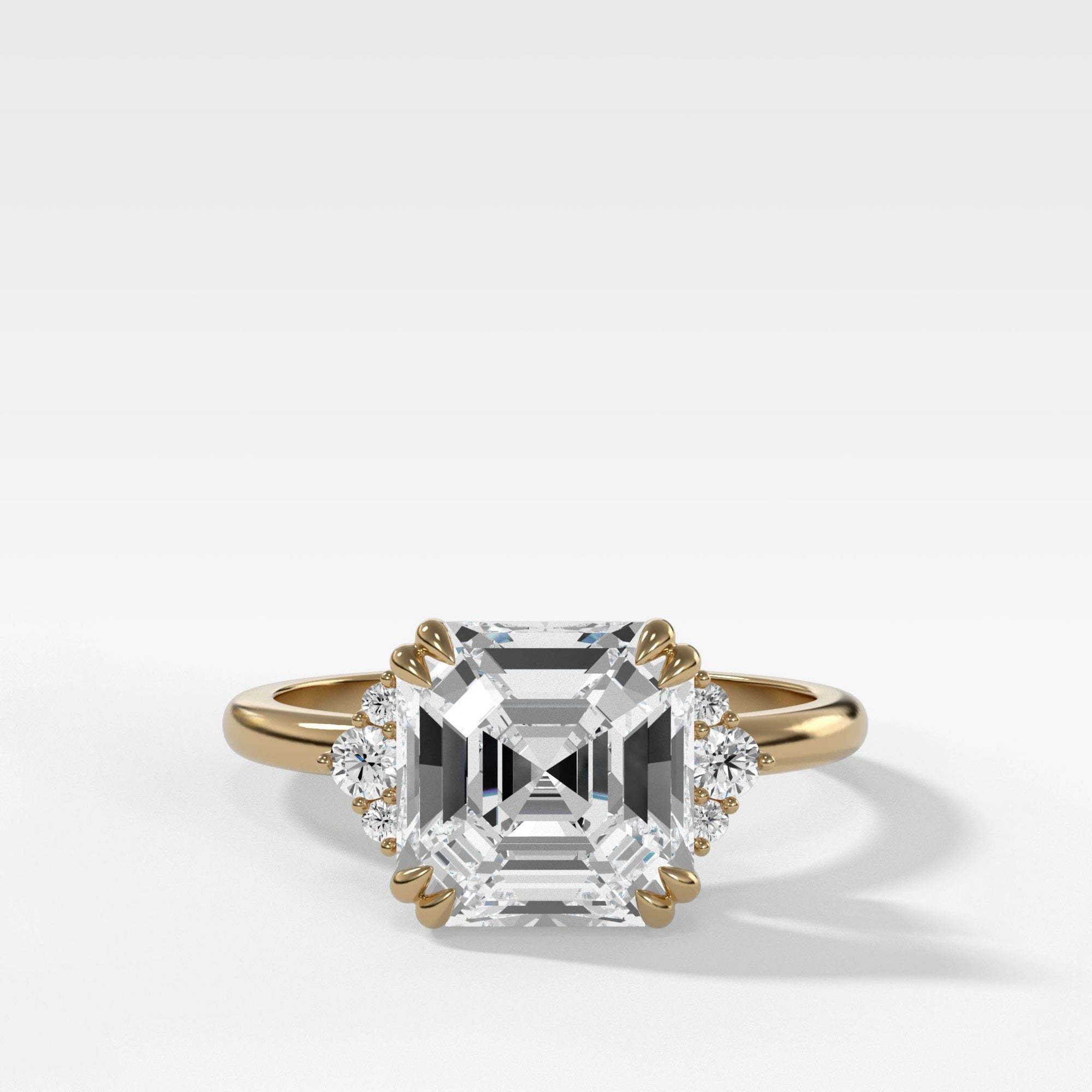 Signature Cluster Engagement Ring With Asscher Cut In Yellow Gold By Good Stone