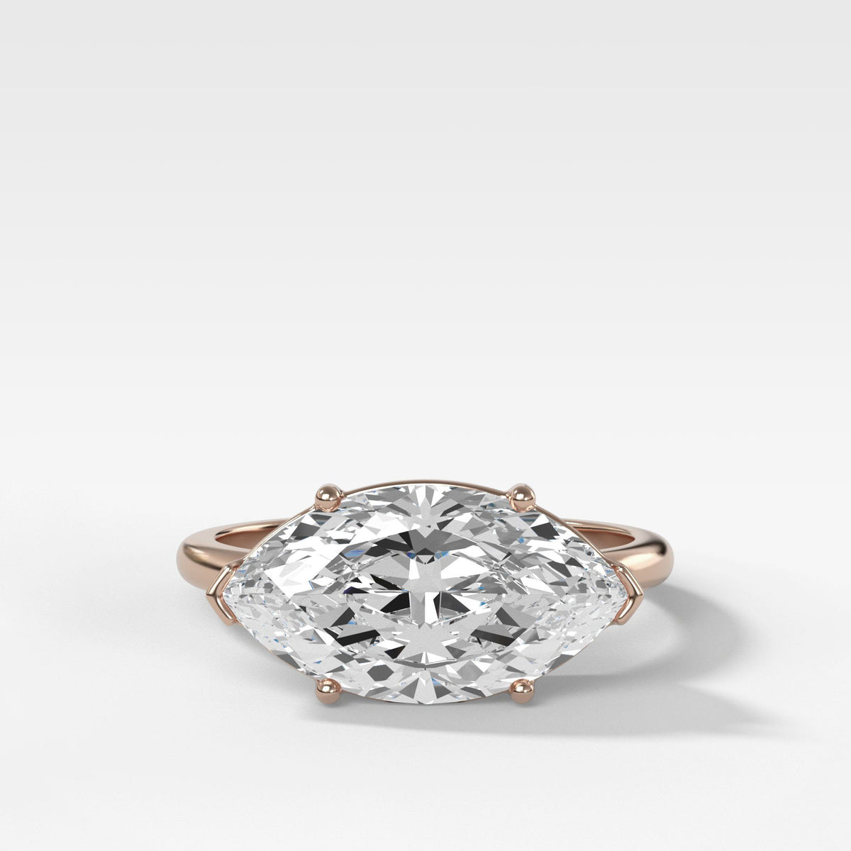 Perigee East West Ring In Rose Gold By Good Stone
