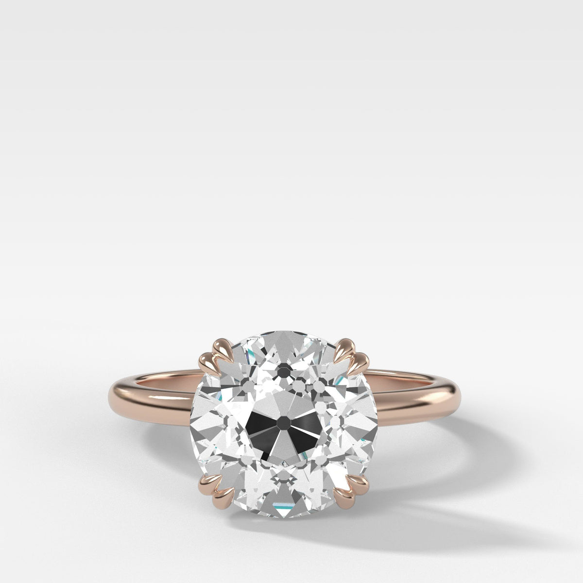 Signature Cathedral Solitaire With Old Euro Cut in Rose Gold by Good Stone