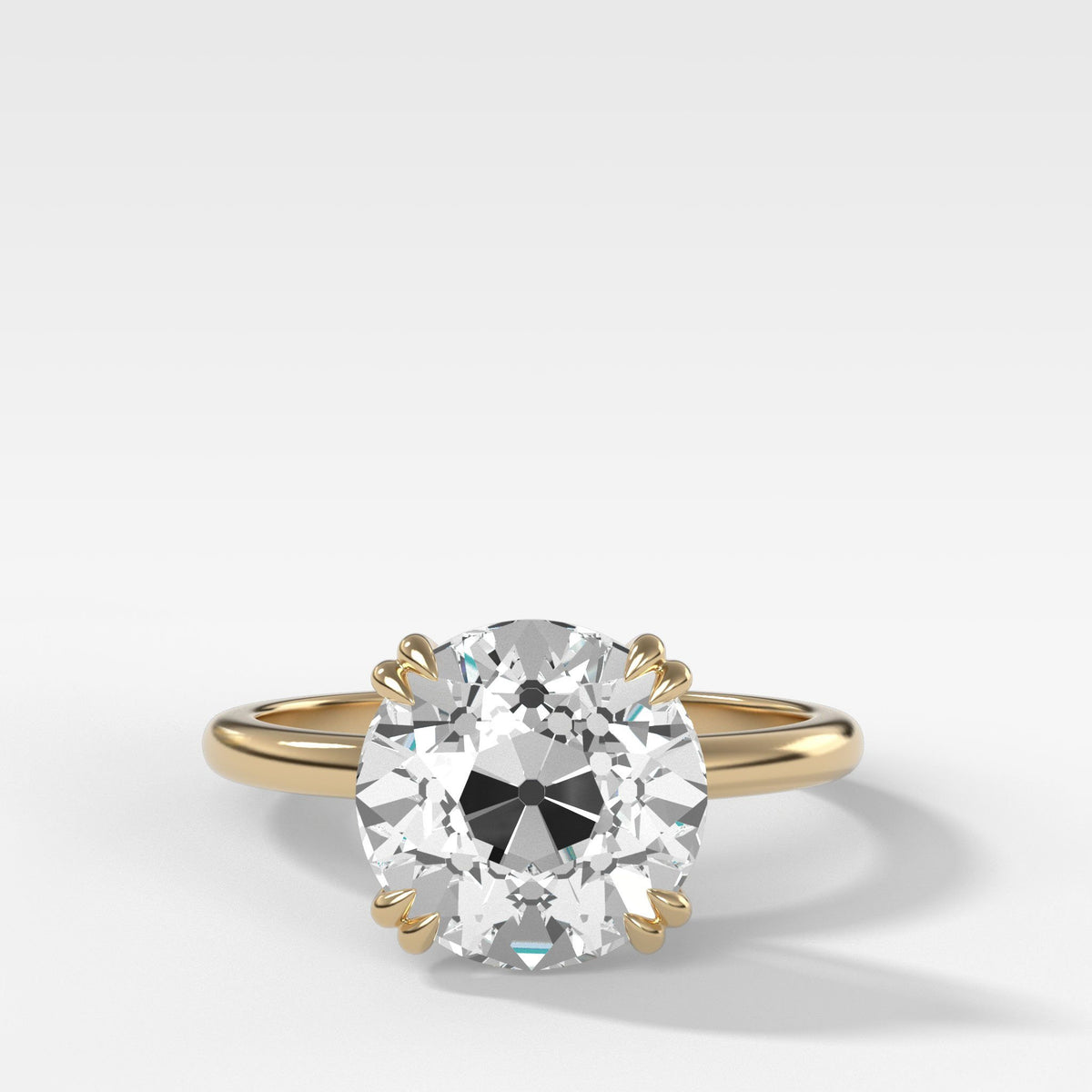 Signature Cathedral Solitaire With Old Euro Cut in Yellow Gold by Good Stone