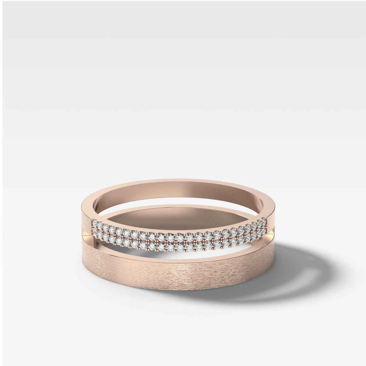Orion Pavé Combo Stacker In Rose Gold By Good Stone