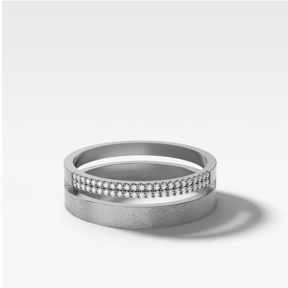 Orion Pavé Combo Stacker In White Gold By Good Stone