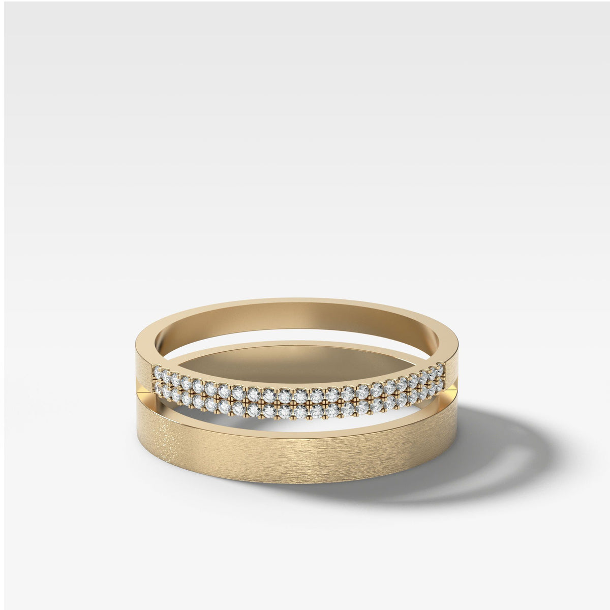 Orion Pavé Combo Stacker In Yellow Gold By Good Stone