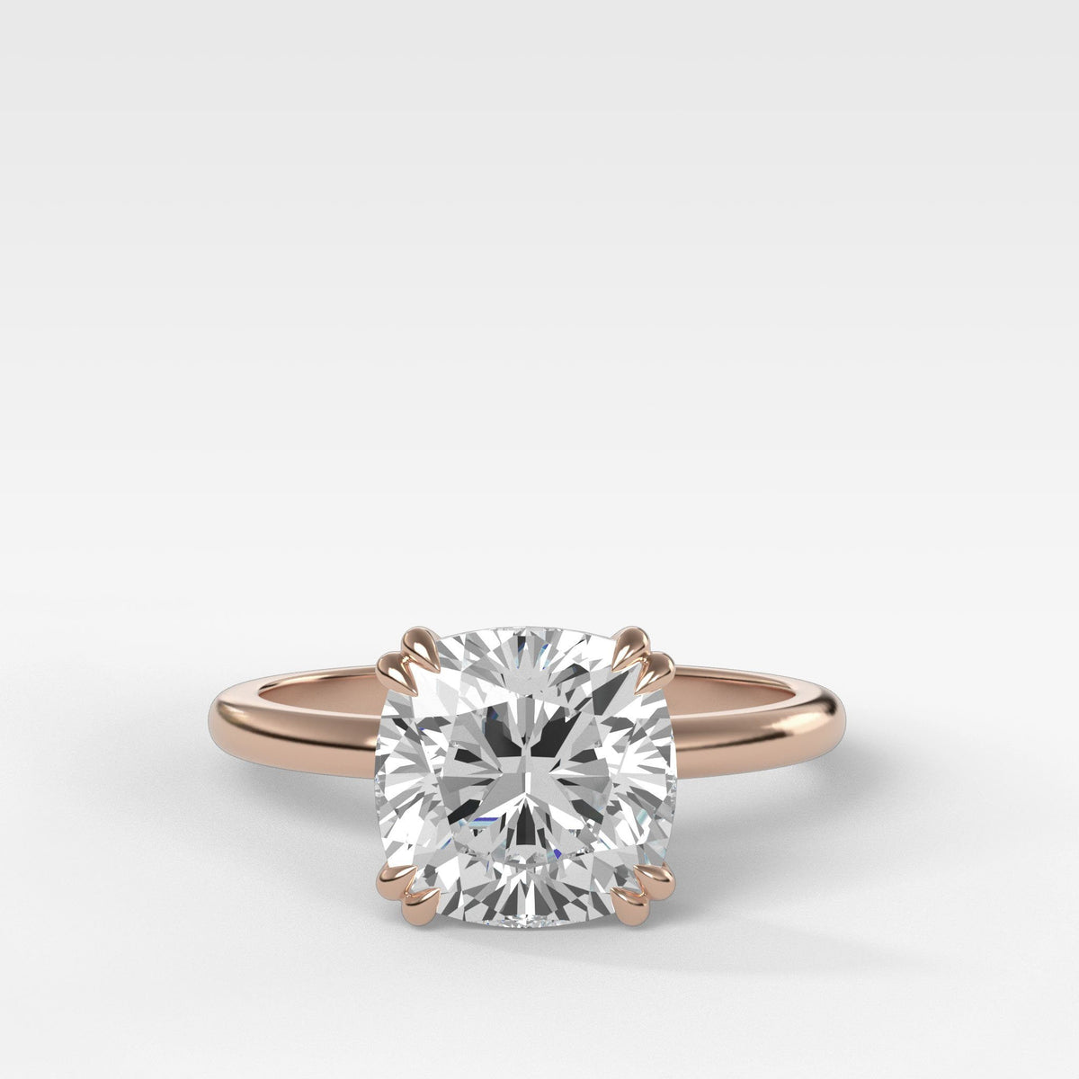 Signature Cathedral Solitaire With Cushion Cut in Rose Gold by Good Stone