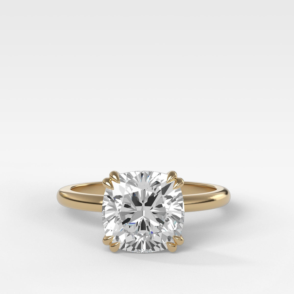 Signature Cathedral Solitaire With Cushion Cut in Yellow Gold by Good Stone