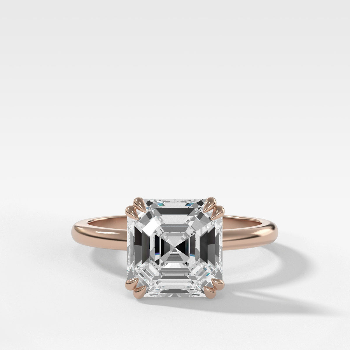 Signature Cathedral Solitaire With Asscher Cut Engagement Good Stone Inc Rose Gold 14k