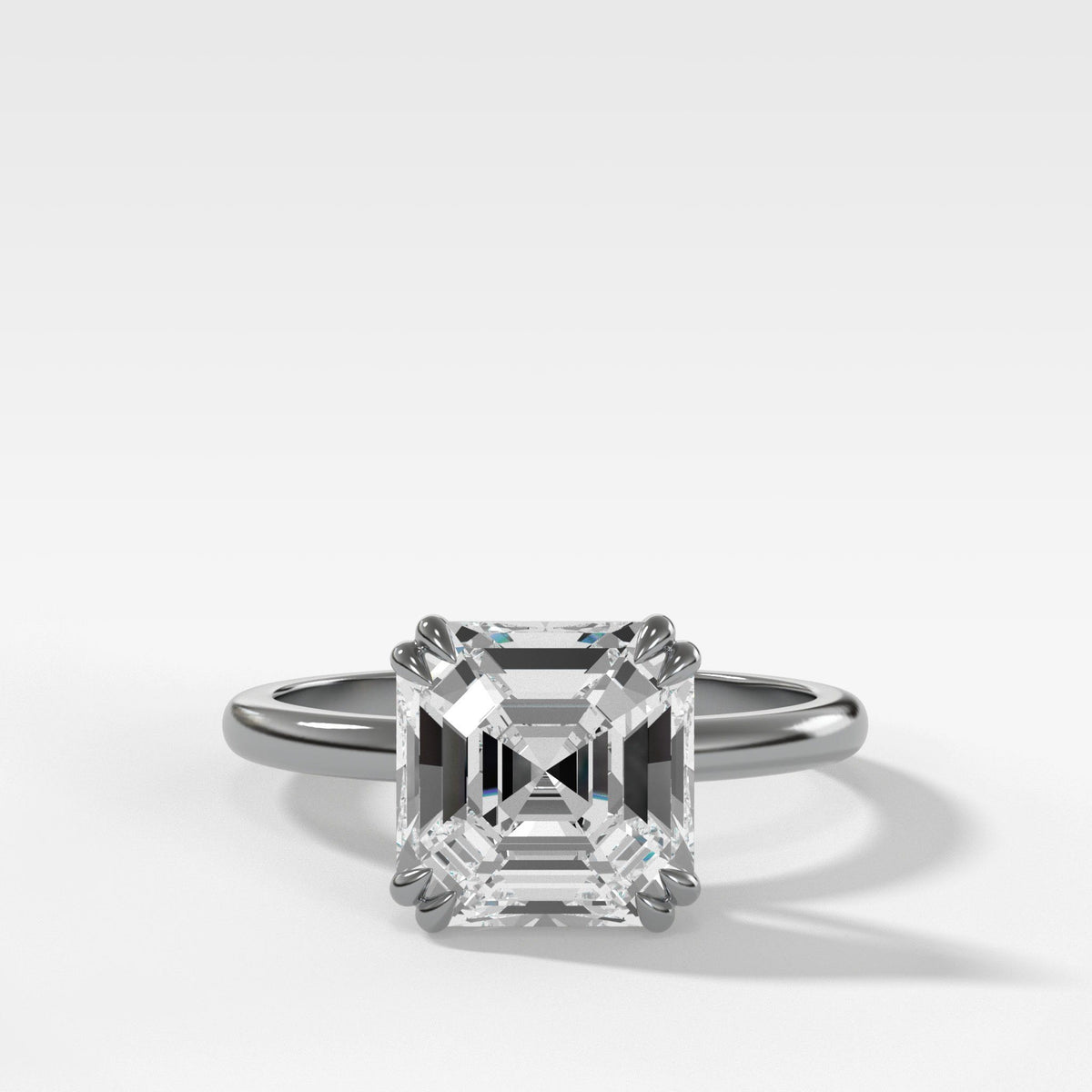 Signature Cathedral Solitaire With Asscher Cut Engagement Good Stone Inc White Gold 14k