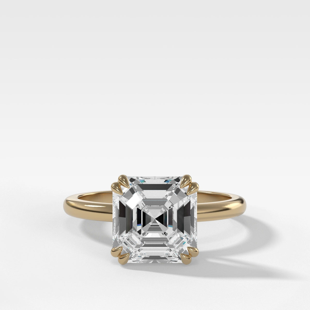 Signature Cathedral Solitaire With Asscher Cut Engagement Good Stone Inc Yellow Gold 14k