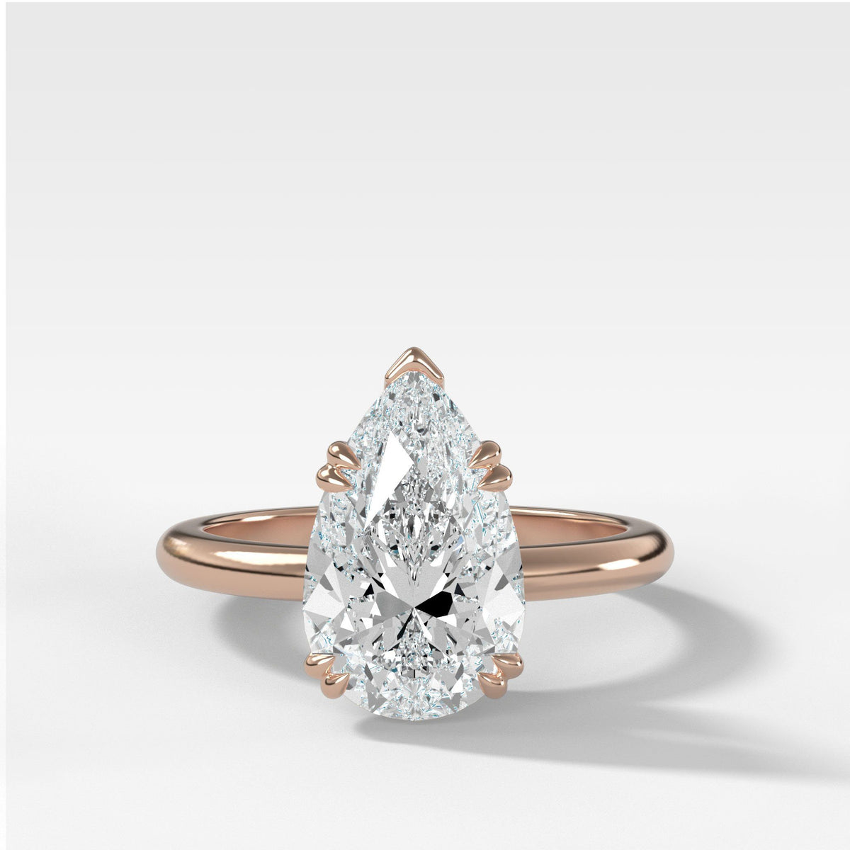 Signature Cathedral Solitaire With Pear Cut in Rose Gold by Good Stone