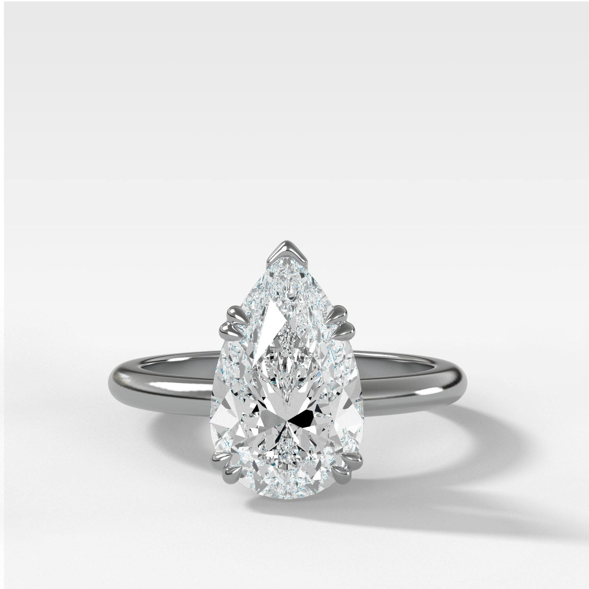 Signature Cathedral Solitaire With Pear Cut in White Gold by Good Stone