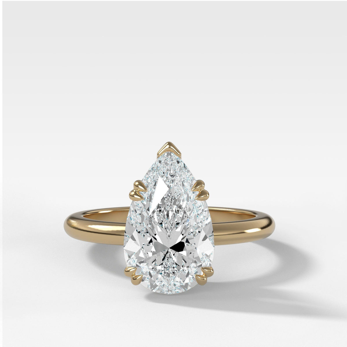 Signature Cathedral Solitaire With Pear Cut in Yellow Gold by Good Stone
