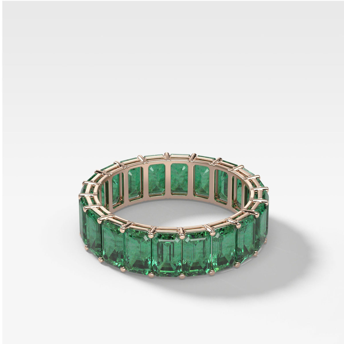 Green Emerald Emerald Cut Eternity band in Rose Gold by Good Stone