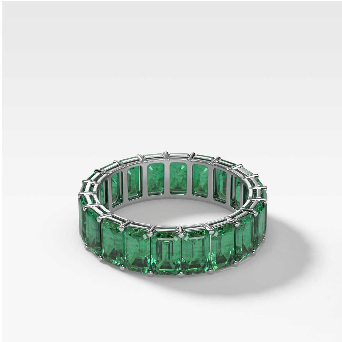 Green Emerald Emerald Cut Eternity band in White Gold by Good Stone