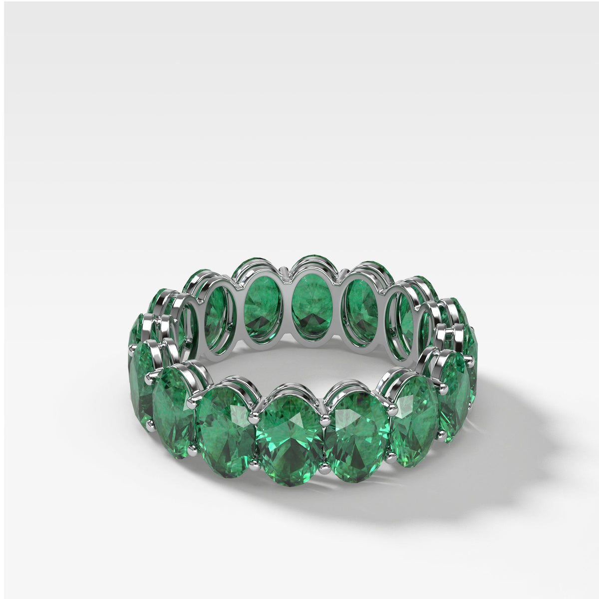Green Emerald Oval Eternity Band in White Gold by Good Stone