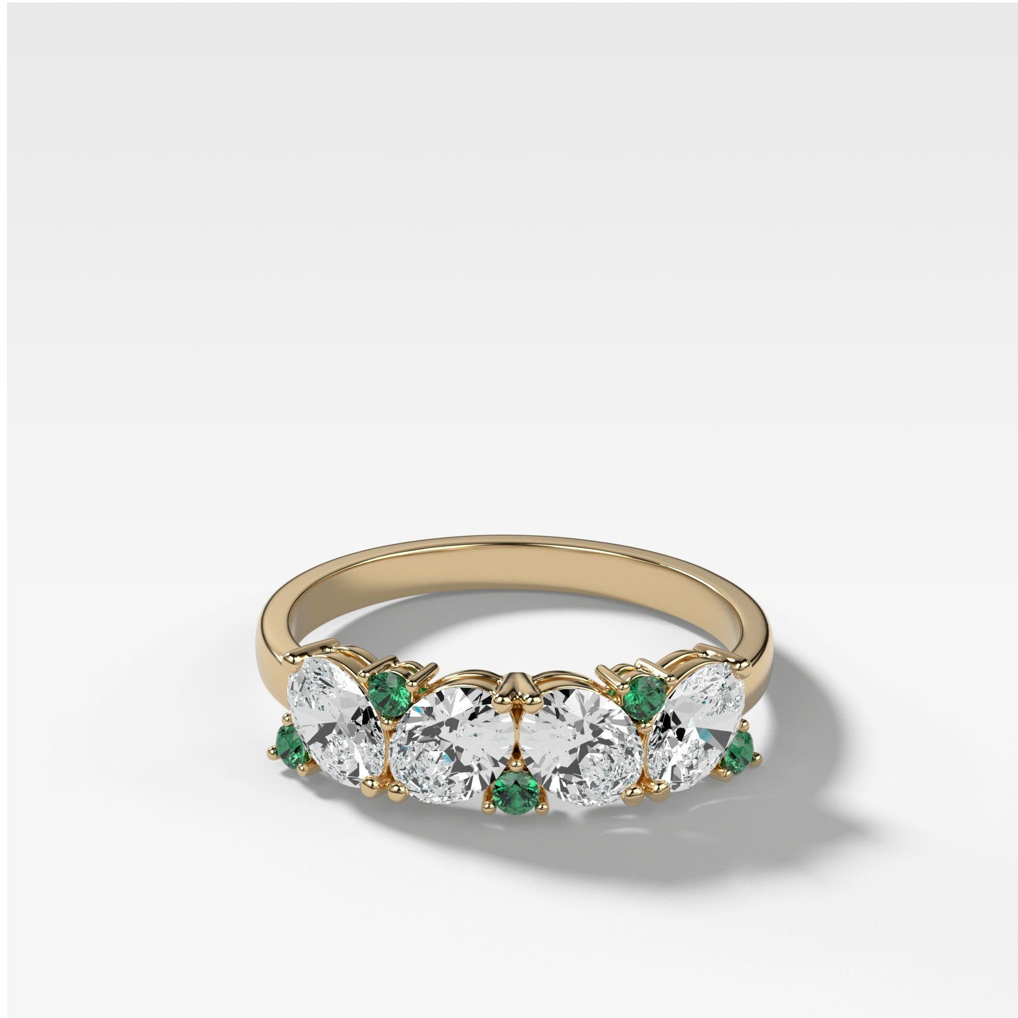Oval Diamond & Emerald Medley Top Only Stacker Bands Good Stone Inc Yellow Gold 14k