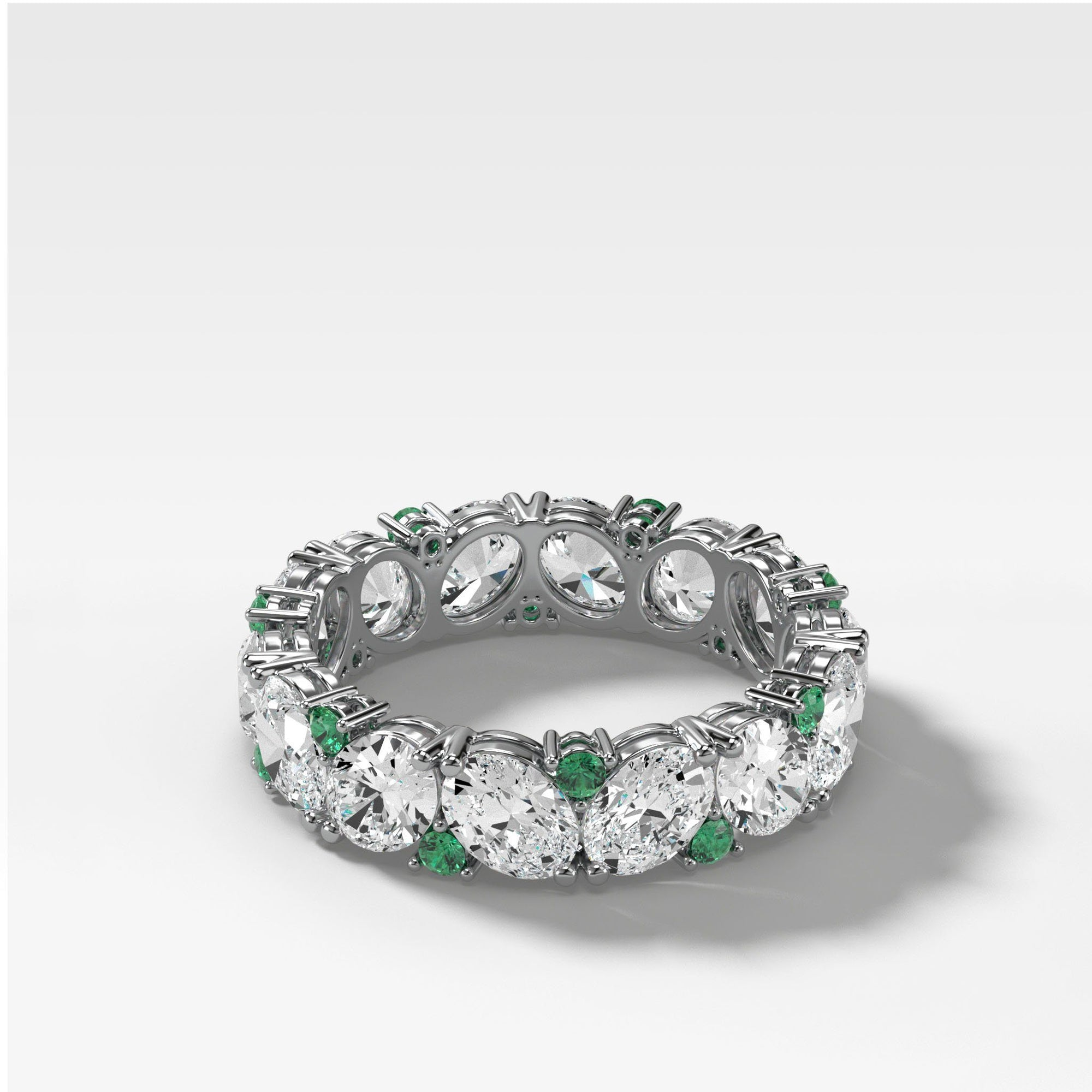 Oval Diamond & Emerald Medley Stacker (Eternity) in Yellow Gold by Good Stone