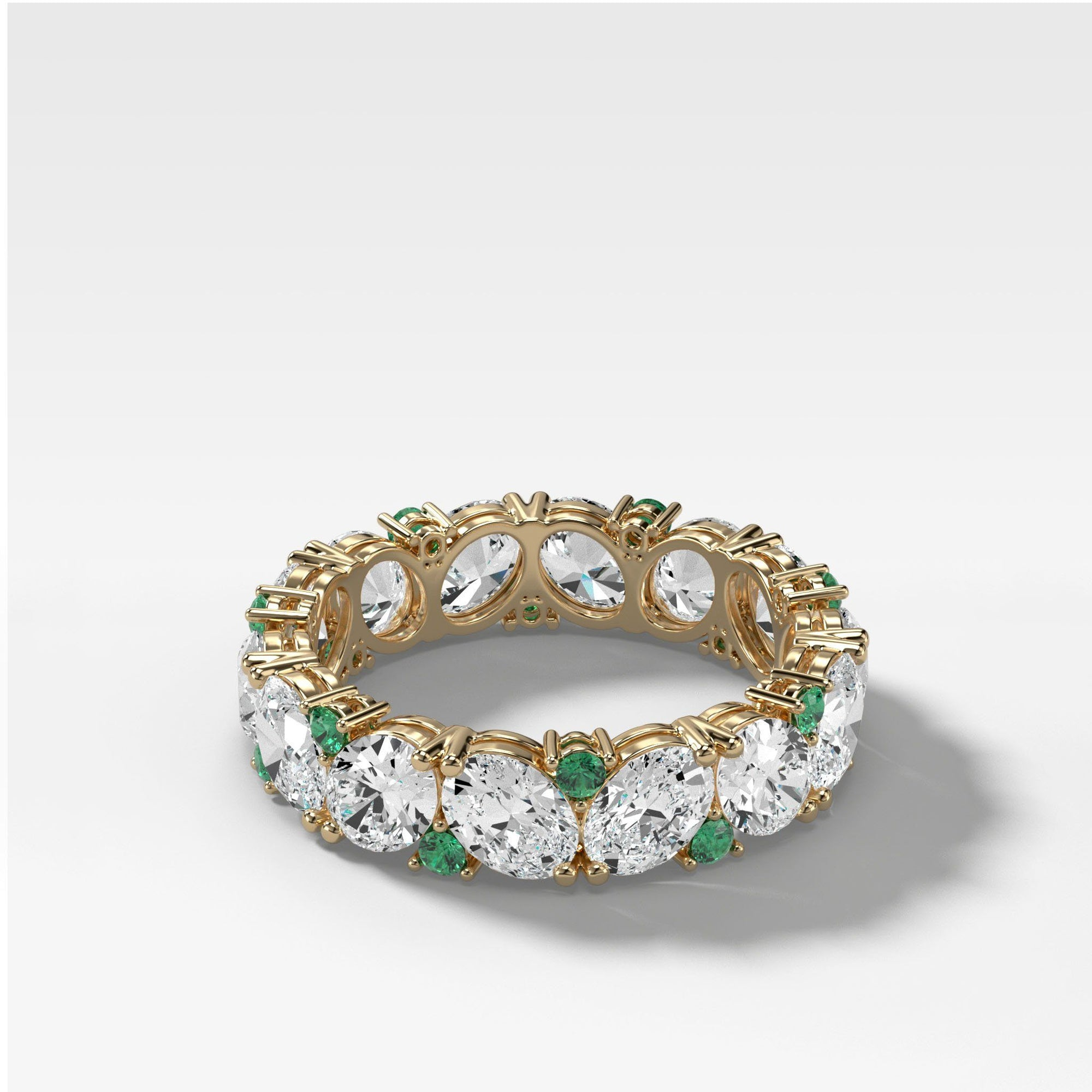 Oval Diamond & Emerald Medley Stacker (Eternity) Bands Good Stone Inc Yellow Gold 14k