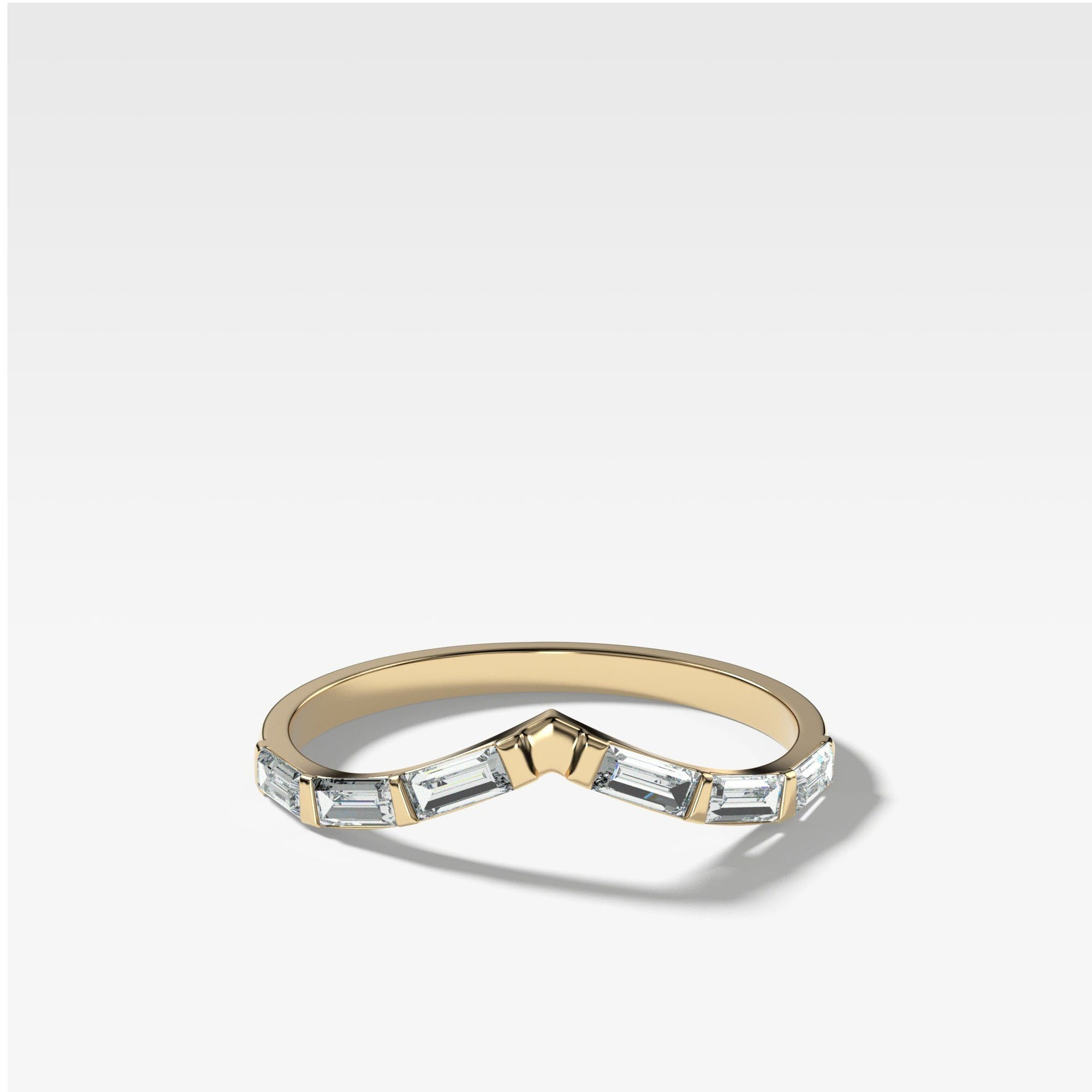 Chevron Dainty Baguette Stacker In Yellow Gold By Good Stone