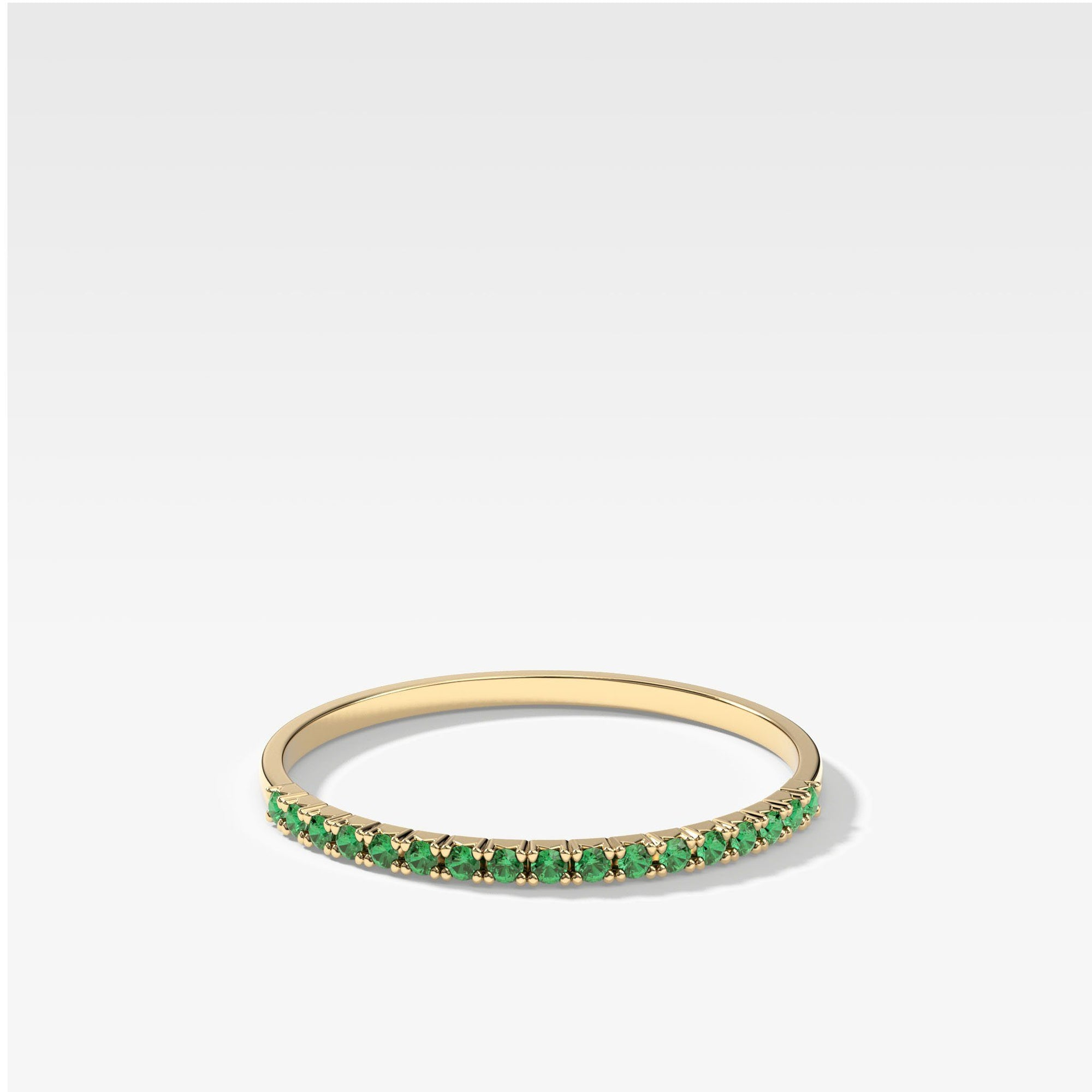 Petite French Pave Stacker With Green Emeralds In Yellow Gold By Good Stone