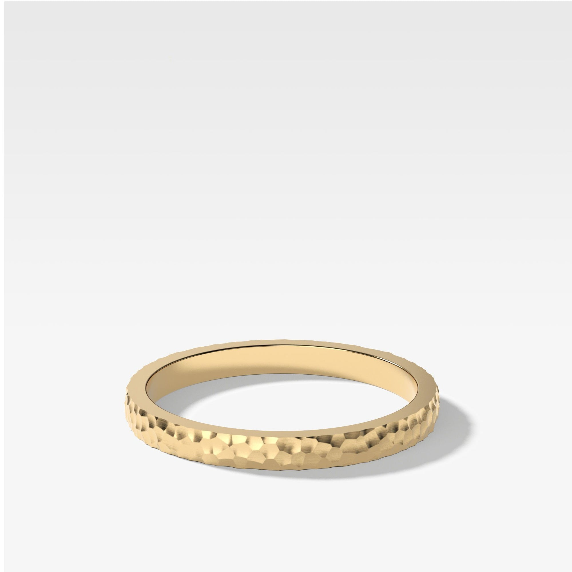Hammered Band In Yellow Gold By Good Stone