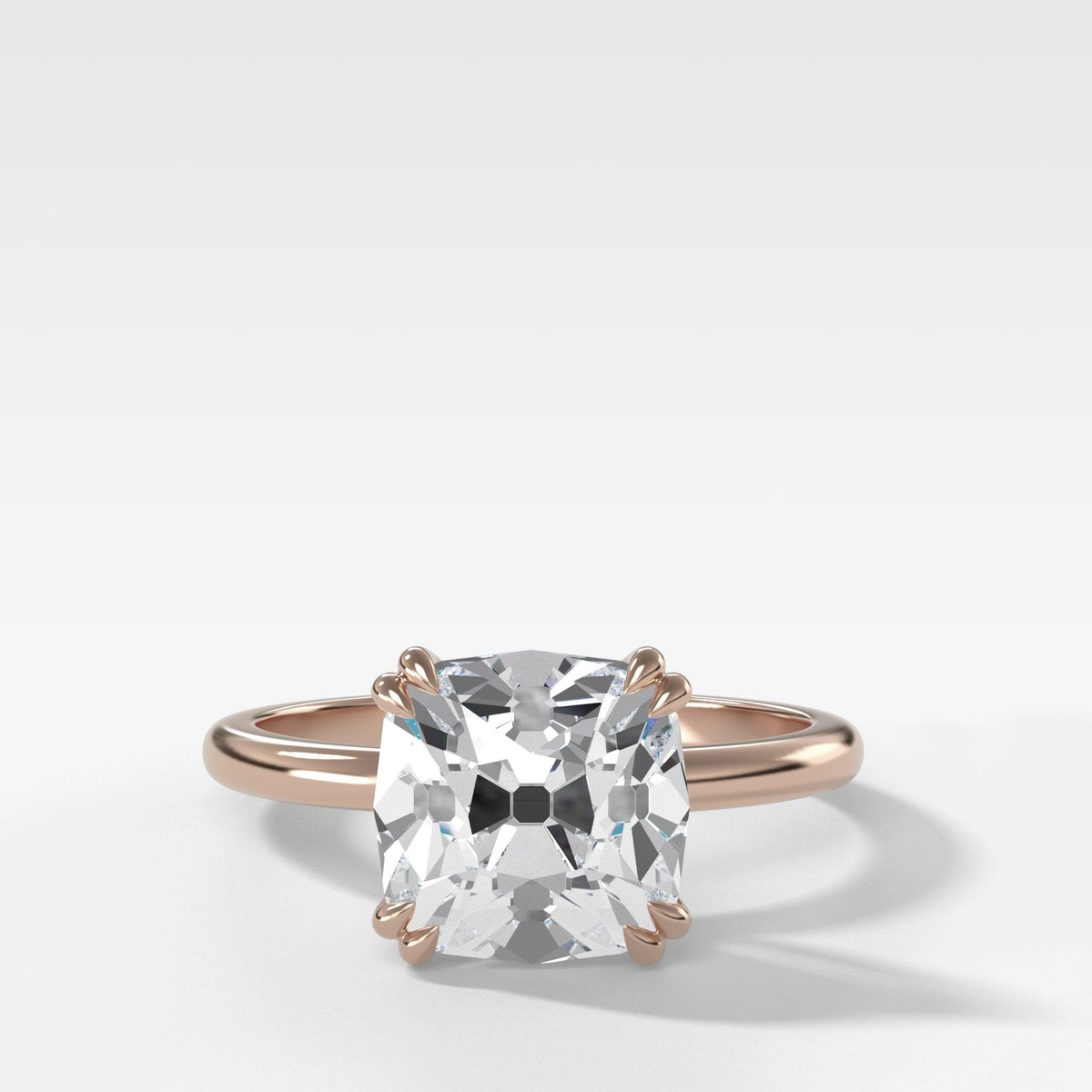 Signature Cathedral Solitaire With Old Mine Cut In Rose Gold By Good Stone