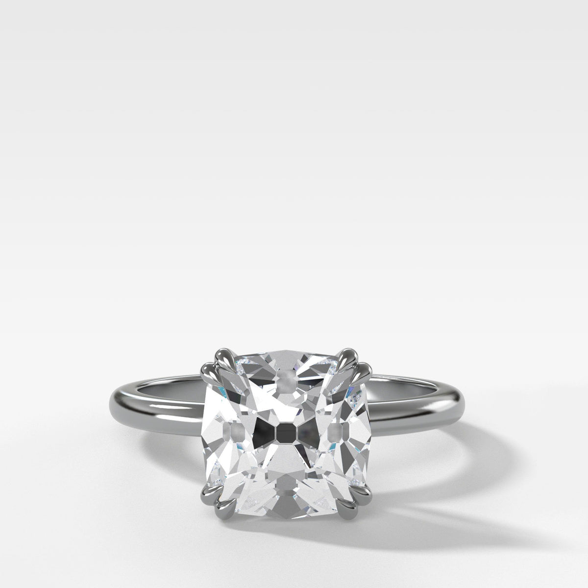 Signature Cathedral Solitaire With Old Mine Cut In White Gold By Good Stone